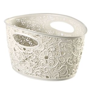 View Curver Victoria White Plastic Decorative Basket, 4.3L details