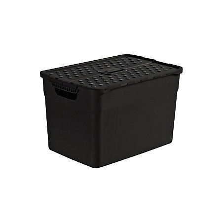 curver black 30l plastic storage box departments diy at b q. Black Bedroom Furniture Sets. Home Design Ideas