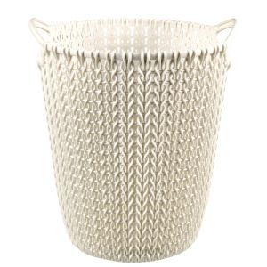 Image of Curver Knit Effect Oasis White Plastic Circular Paper Bin 7L