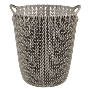 Image of Curver Knit Effect Harvest Brown Plastic Circular Paper Bin 7L