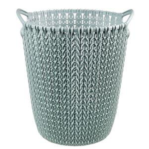 Image of Curver Knit Effect Misty Blue Plastic Circular Paper Bin 7L