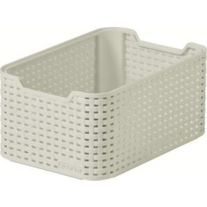Image of Curver Small Vintage White Rattan Effect Basket