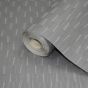 View Square All over Grey Blown Vinyl Wallpaper details