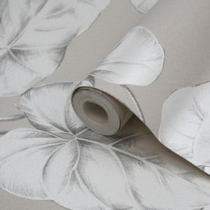 View Palm Leef Light Grey & White Embossed Wallpaper details