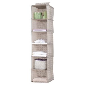 Compactor Home Beige Fabric 6 Level Hanging Storage