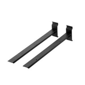 Image of Walltech Black Matt effect Steel Shelf brackets (D)387mm