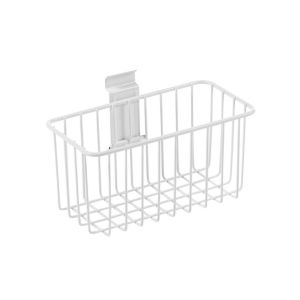 Image of Wall mountable White Metal basket (L)130mm (W)200mm (D) 112mm