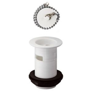 Image of Wirquin White Slotted Plug & chain Basin Waste