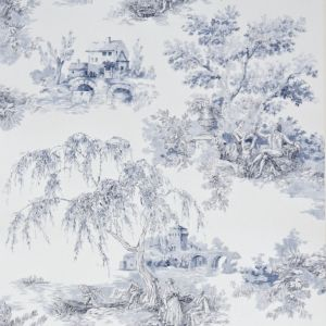 View Gold Toile Blue Wallpaper details