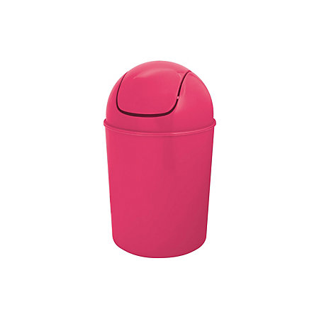 Flip top pink plastic bathroom bin 5l departments for Pink bathroom bin