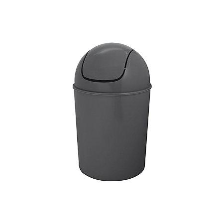 Flip top grey plastic bathroom bin 5l departments for Grey bathroom bin