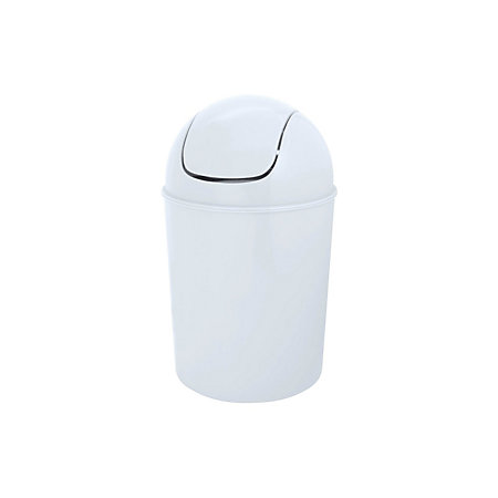 Flip Top White Plastic Bathroom Bin 5l Departments