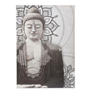 Image of Buddha Grey Embellished Canvas (W)925mm (H)650mm