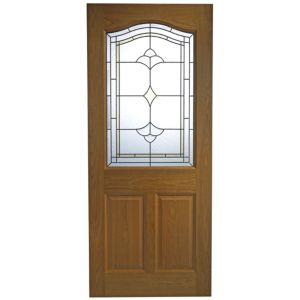 View Romero Oak Veneer Partially Glazed External Front Door, (H)1981mm (W)838mm details