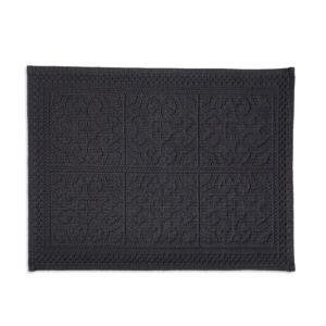 Image of Marinette Saint-Tropez Astone Dark grey Tile Cotton Bath mat (L)500mm (W)700mm