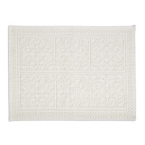 Image of Marinette Saint-Tropez Astone Ivory Tile Cotton Bath mat (L)500mm (W)700mm