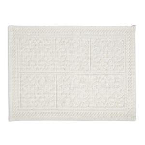 Image of Marinette Saint-Tropez Astone Ivory Cotton Tile Bath mat (L)500mm (W)700mm