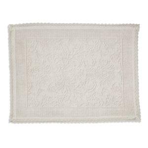 Image of Marinette Saint-Tropez Platinum Cream Floral Cotton Bath mat (L)500mm (W)700mm