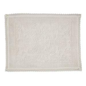 Image of Marinette Saint-Tropez Platinum Cream Cotton Floral Bath mat (L)500mm (W)700mm