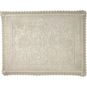 Image of Marinette Saint-Tropez Platinum Beige Cotton Floral Bath mat (L)500mm (W)700mm