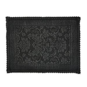Image of Marinette Saint-Tropez Platinum Black Cotton Floral Bath mat (L)500mm (W)700mm