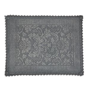 Marinette Saint-Tropez Platinum Light Grey Floral Cotton Bath Mat (L)500mm (W)700mm
