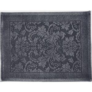 Image of Marinette Saint-Tropez Platinum Dark grey Floral Cotton Bath mat (L)500mm (W)700mm