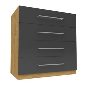 View Form Darwin Oak Effect & Anthracite Drawer Chest (H) 1026 mm (W) 1000 mm details