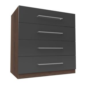 View Form Darwin Walnut Effect & Anthracite Drawer Chest (H) 1026 mm (W) 1000 mm details