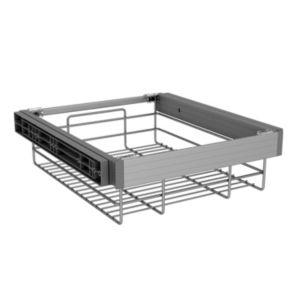 Image of Darwin Silver effect Aluminium plastic & wire Storage basket