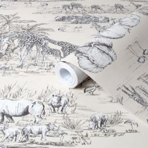 Colours Watering Hole Cream Animal Safari Metallic Wallpaper