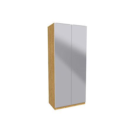 Darwin handpicked oak effect mirror tall double wardrobe for Double mirror effect
