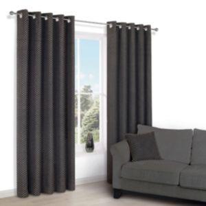 Image of Camasha Black Honeycomb Woven Eyelet Lined Curtains (W)117 cm (L)137 cm
