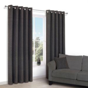 Image of Camasha Black Honeycomb Woven Eyelet Lined Curtains (W)167 cm (L)228 cm