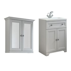 Cooke & Lewis Chadleigh Matt Light Grey Vanity Unit with Basin & Mirror Cabinet
