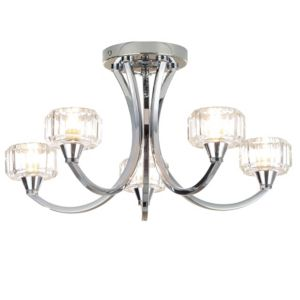 Image of Orara Chrome effect 5 Lamp Bathroom ceiling light