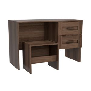 Darwin Walnut Effect 2 Drawer Desk with Stool