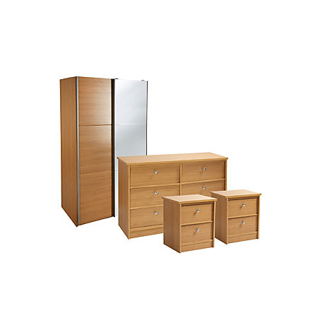Kendal Oak Effect 4 Piece Bedroom Furniture Set Departments Diy At B Q