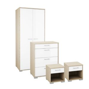 Image of Evie Gloss White & Oak effect 4 piece bedroom furniture set