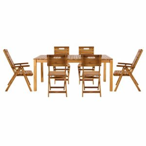 Image of Denia Wooden 6-8 Seater Dining Set with 2 Recliner & 4 Standard Chairs
