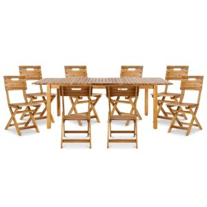 Image of Denia Wooden 8 seater Dining set with 8 standard chairs