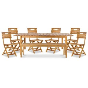 Denia Wooden 8 seater Dining set with 1 bench & 6 standard chairs