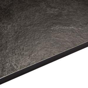 Image of 12.5mm Exilis Zinc Argente Black Textured Slate effect Square edge Laminate Internal curve worktop (L)0.95m (D)950mm