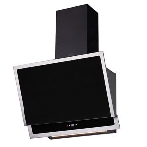 Cooke & Lewis CL60AGB Black Glass & stainless steel Angled chimney Cooker hood  (W) 600mm