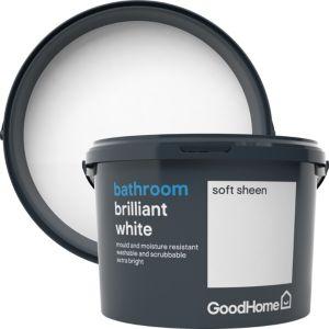 Image of GoodHome Bathroom Brilliant white Soft sheen Emulsion paint 2.5L