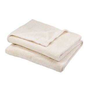 Image of Lulu Ivory Plain Fleece Throw