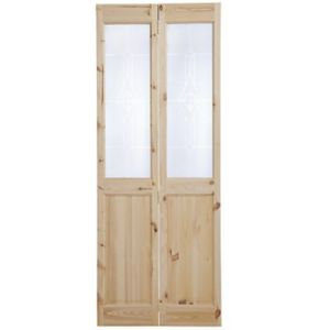 Image of 4 panel 2 Lite Frosted Glazed Knotty pine Internal Bi-fold Door set (H)1946mm (W)675mm