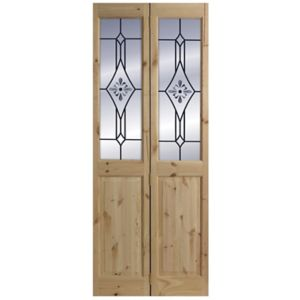 Image of 4 panel 2 Lite Frosted Glazed Knotty pine Internal Bi-fold Door set (H)2005mm (W)715mm