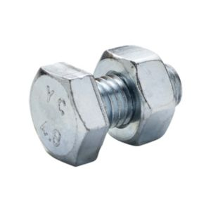 Image of M10 Hex bolt & nut (L) 20mm Pack of 10
