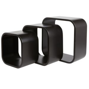 Image of Form Cusko Black Cube shelves Set of 3